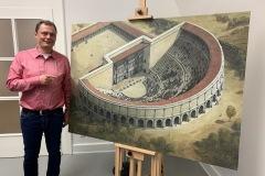"""Vorstellung Bild """"Mainzer Römisches Theater"""" gemeinsam mit dem Maler, Herrn André Brauch 10.12.2019"""